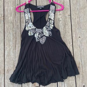 Black Tank Top with Silver Beading